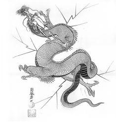 Japanese Dragon, Chinese Dragon, Chinese Art, Japanese Sleeve Tattoos, Full Sleeve Tattoos, Animal Drawings, Art Drawings, Dragon Tattoo Arm, Japan Tattoo Design
