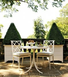 outdoor seating and planters