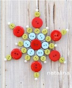 Button Snowflake Ornament - No instructions - inspiration picture Christmas Button Crafts, Button Ornaments, Christmas Buttons, Diy Christmas Ornaments, Homemade Christmas, Christmas Projects, Holiday Crafts, Christmas Decorations, Button Wreath
