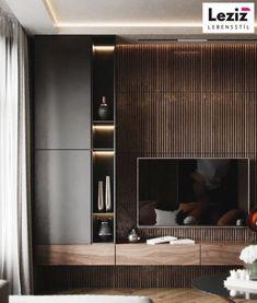 Apartment Interior, Living Room Interior, Home Living Room, Living Room Wall Units, Living Room Tv Unit Designs, Home Room Design, Home Interior Design, Modern Tv Room, Appartement Design