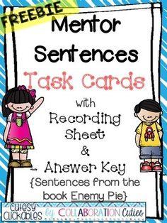 Mentor Sentences Task Cards FREEBIE {Enemy Pie}