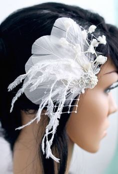 Bridal Feather Fascinator Wedding Headpiece Vintage Style by BelleBlooms
