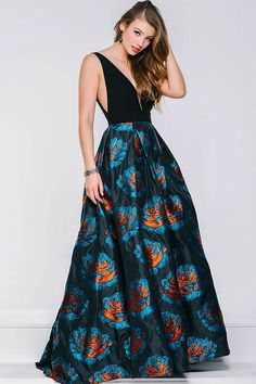 8a48b3b1196 Jovani - 43081 Deep V-neck Printed A-line Dress Pageant Dresses