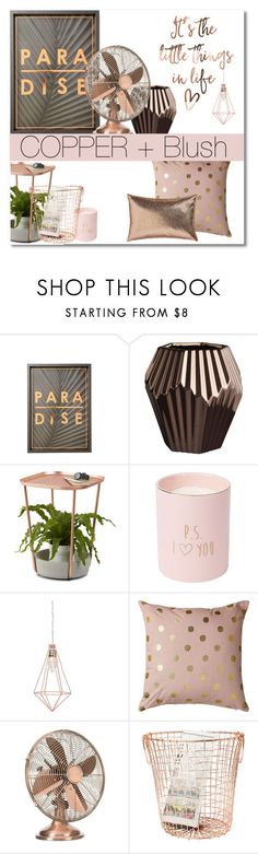 """Copper Blush"" by groove-muffin ❤ liked on Polyvore featuring interior, interiors, interior design, home, home decor, interior decorating, CB2, Umbra and Bloomingville"