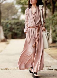 Women's a-line maxi dress long skirt long sleeve cotton dress floor length long dress in pink BJ14,s,m,l