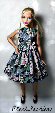 Curvy Barbie Clothes  Blue Floral Cotton Dress by OzarkFashions