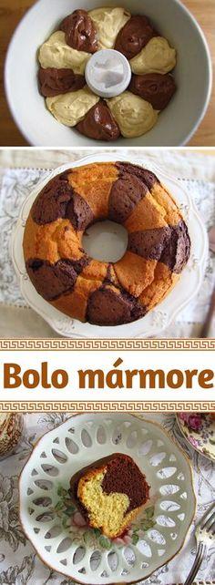 Bolo mármore | Food From Portugal. Este bolo mármore é ideal para uma festa ou para partilhar com amigos ou família! É muito delicioso, tem uma óptima apresentação e todos vão gostar da mistura de sabores que o bolo oferece!! Sirva com chá ou café! Bom apetite! #receita #bolo