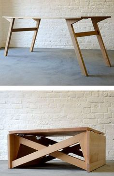25 Multi Functional Furniture Design Inspiration - The Architects Diary - Coffee table and dining table or office – 25 Multi Functional Furniture Design Inspiration – Th - Folding Furniture, Multifunctional Furniture, Smart Furniture, Space Saving Furniture, Plywood Furniture, Furniture Projects, Furniture Plans, Furniture Design, Plywood Table