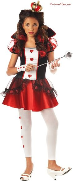 Stand out in any group when you wear this Wonderlands Queen of Hearts Child Costume! The costume includes a red and black dress featuring a white bodice with heart accents, sheer balloon sleeves, black stand-up collar, red skirt and sheer black peplum. A pair of white glovelettes with heart accents, white leggings, and a golden crown completes the costume. Does not include curl clips, shoes, or wand.