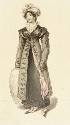 Morning walking dress, fashion plate, hand-colored engraving on paper, published in La Belle Assemblie, London, January 1815.