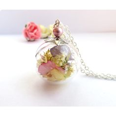 Real Dried Flowers, Real Flower Jewelry, Spring Necklace, Pale Pink,... ($26) ❤ liked on Polyvore featuring jewelry, necklaces, flower necklace, blossom necklace, silver jewelry, pendants & necklaces and silver necklace