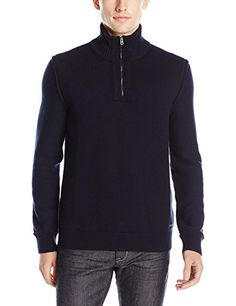 BOSS Orange Men's Kwemare Wool Blend Quarter Zip Mock Neck Sweater