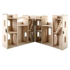 The unfinished building is already constructed, so you just need to add your own paints, stains and embellishments to make it your own. The castle features multiple levels and several rooms, perfect for creative minds and young imaginations.