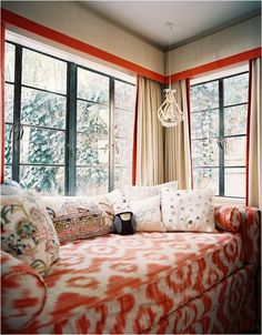 love the coral trim on linen