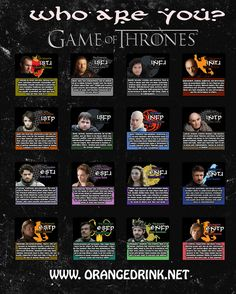 10 Myers-Briggs Type Charts - Game of Thrones Style for Pop Culture Characters | Mental Floss