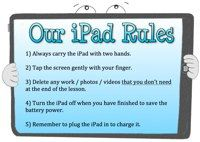An editable poster to share rules for using an iPad in the classroom.