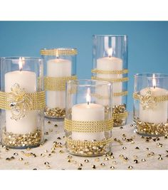 Gold Wrapped Vases | Gold Votive Holders | Gold Wedding Vase | DIY Wedding Vase Instructions from Joann.com