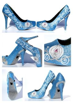 4 inch Cinderella Heels with Swarovski Crystals on Baby Blue Glitter Platforms