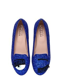 Chiara Ferragni 10mm Blink Eye Glitter Loafers on shopstyle.com