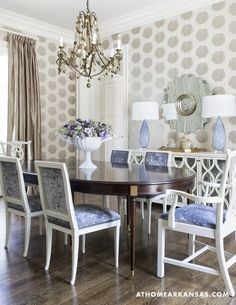 Design by Melissa Haynes, MH Design | Photography by Rett Peek | At Home in Arkansas | http://www.athomearkansas.com/article/contemporary-classic# #diningroom #wallpaper