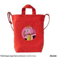 Pink dragon super hero cartoon duck canvas bag