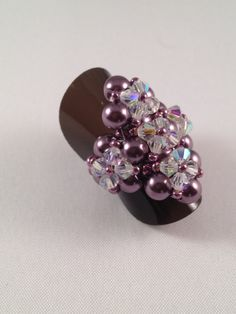 Chunky Bling Ring Amethyst And Crystal by XxxWithyouinmindxxX