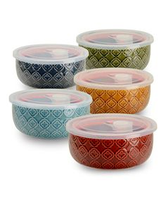 Love this Geometric 6'' Storage Bowl & Lid - Set of Five by Signature Housewares on #zulily! #zulilyfinds