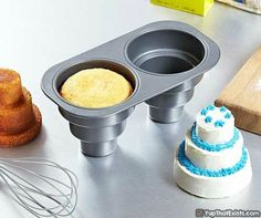 3 Tier Cupcake PansScrew 1 tier cupcakes, those were so 2014, it's a new year and we deserve more tiers! Why have one when you can have three! This cupcake pan makes two 3 tier cupcakes at a time, and is really extremely simple to make, it's just a matter of pour and bake. Within minutes you'll have two marvellous cupcakes that look like wedding cakes for mice.