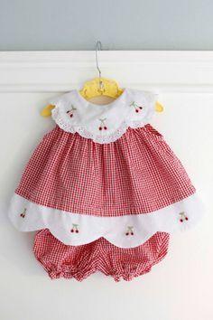 3-6 meses: guinga roja bebé traje vestido y conjunto por Petitpoesy