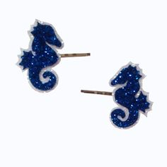 Rockabilly Nautical Sweet Seahorse Glitter Bobby Pins Hair Clips