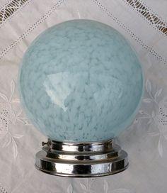 blue glass globe globe lamp blue mid century by LaBonneVie72