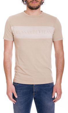 Trussardi Jeans | T-Shirt Trussardi Jeans Uomo Girocollo Regular Fit Col. Sabbia - Shop Online su Dursoboutique.com 52T140