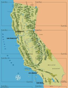 California mountains in illustrative style © Eureka Cartography, Berkeley, CA