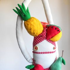 Fruit headdress art doll  Zeza Miranda ooak plush doll by Zezling, €62.00