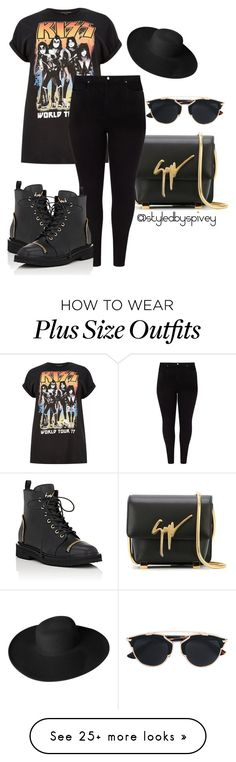 """Plus Size SLAYAGE"" by spivey-adrian on Polyvore featuring River Island, Giuseppe Zanotti, Studio 8, Christian Dior and Dorfman Pacific"