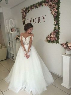 Cheap wedding dresses Sleeves Sheer Bateau Neckline Wedding Dress with Open V Back A Line Deep V Neck White Wedding Dress With Pockets - Abnehmbare Rock Brautkleid 2019 Vestido De Noiva De Renda Illu. Wedding Dress Necklines, Wedding Dresses With Straps, Wedding Dresses 2018, White Wedding Dresses, Cheap Wedding Dress, Wedding Dress Styles, Bridal Dresses, Bridesmaid Dresses, Tulle Ballgown Wedding Dress