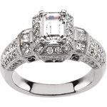 Intricate, Chic Diamond Semi-Mount Engagement Ring with Halo Design set in 14k White Gold.