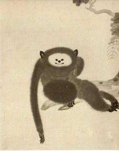 Paintings of monkeys by Kano Sansetsu Art And Illustration, Illustrations, Japanese Art Modern, Japanese Prints, Japanese Monkey, Monkey Art, Year Of The Monkey, Japanese Painting, Japan Art