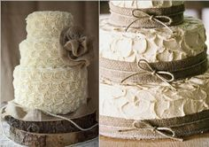 I like the pic on the left with the wood slice but burlap laid around the cake