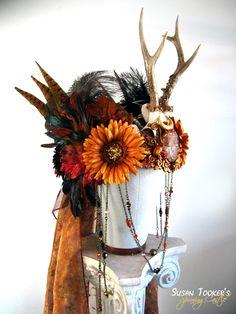 SOLD Autumn Antler Headdress Ritual Crown Bohemian Tribal Gypsy Offbeat Wedding Pagan Deer Skull HARVEST GODDESS by Spinning Castle. $860,00, via Etsy. (Love the flowers!)