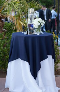 Navy blue & white cocktail table or sign in . #Wedding #cvlinens #tablescape #navy #white #cocktail