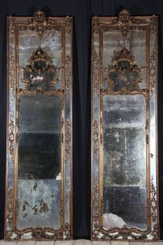 Pair of extremely gorgeous antique mirror frames Trumeau Mirror, Ornate Mirror, Old Mirrors, Vintage Mirrors, Mirror Mirror, Mirror Panels, Mirror Room, Beautiful Mirrors, Through The Looking Glass
