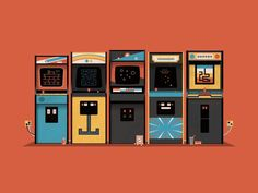 Arcade by DKNG- Depicted in DKNG's classic style of squared shapes and strait lines is a retro arcade with video game machines, popcorn and soda. Limited edition silkscreen art print artwork by famous artist DKNG.
