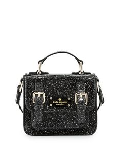 scout girls\' metallic patent leather crossbody bag, black by kate spade new york at Bergdorf Goodman.