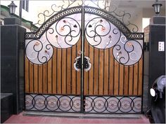 Gate designs, Gate designs for private house and garage, front gate design Gate Wall Design, Home Gate Design, Grill Gate Design, Steel Gate Design, Front Gate Design, Modern Entrance Door, Entrance Gates, Driveway Entrance, Main Entrance