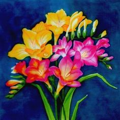 Silk Painting Freesias - Leonard Thompson