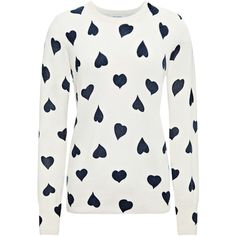 Equipment Shane Heart-Print Cashmere Sweater (5.730 RUB) ❤ liked on Polyvore featuring tops, sweaters, shirts, blusas, j.crew cashmere sweaters, heart shirt, navy blue sweater, long-sleeve shirt and crewneck sweaters