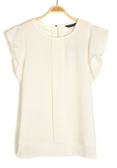 White Falbala Round Neck Bat Sleeve Chiffon Blouse