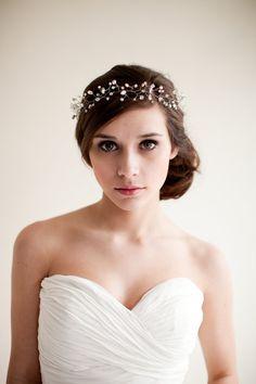 Bridal Crown Wedding Tiara Hair Wreath Floral by MelindaRoseDesign