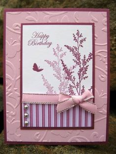 Garden Silhouettes, Rich Razzleberry card stock and Cottage Wall DSP Birthday Cards For Women, Handmade Birthday Cards, Happy Birthday Cards, Greeting Cards Handmade, Pretty Cards, Love Cards, Cricut Cards, Stampin Up Cards, Card Making Designs